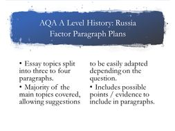 AQA A Level Russia Factor plans