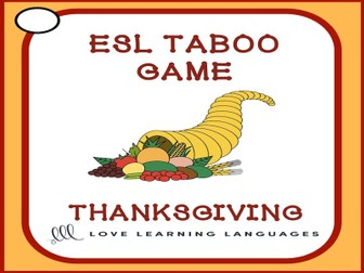Thanksgiving - ESL Taboo Speaking Game