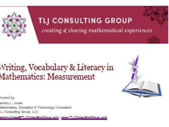Writing, Vocabulary & Literacy in Mathematics: Measurement (Int)