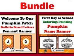 Pumpkin Theme, Bulletin Board Letters & Name Banner Coloring Bundle