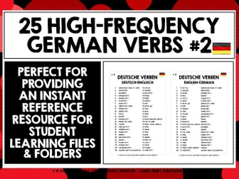 GERMAN VERBS REFERENCE LIST 25 VERBS #2