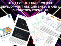 BTEC LEVEL 3 IT UNIT 6 WEBSITE DEVELOPMENT ASSIGNMENT A, B AND C DISTINCTION EXEMPLAR