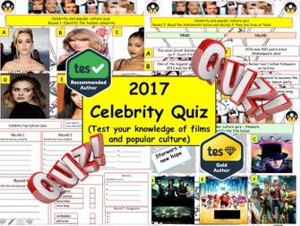 New Year Celebrity popular Culture (Quiz) - 7 rounds and 40+Qs.  End of term Quiz