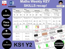 YEAR 2 Maths daily skills builders  10 WEEKS WORTH! Great for SATs prep! spiral learning