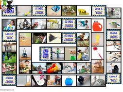 Household Chores and Cleaning Supplies Animated Board Game