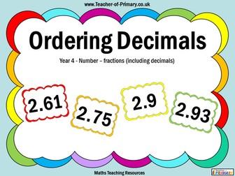 Ordering Decimals - Year 4