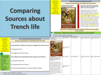 WW1: Comparing sources about trench life (Lesson 7)