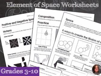 Elements of Art Worksheets - Space & Composition & Mini Art Lesson Sheets