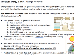 The Absolute Basics - Energy resources sheet. Condensed key ideas and facts for review and checking