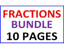 Fractions Bundle 10 Worksheets