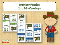 Number Puzzles 1 to 20 - Cowboy Theme