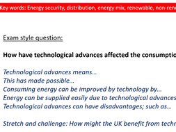 Geography GCSE- Resource management- Factors effecting energy supply