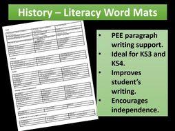 History PEE Paragraph Literacy Mats