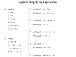 gcse maths algebra worksheets simplifying expressions by  gcse maths algebra worksheets simplifying expressions