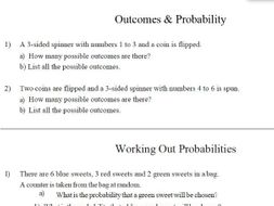 gcse maths outcome probability worksheet by theeducationspecialist teaching resources. Black Bedroom Furniture Sets. Home Design Ideas