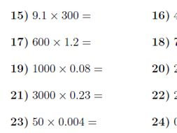 Multiplying decimals by powers of 10 worksheet (with answers)