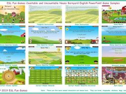Countable and Uncountable Nouns Barnyard English PowerPoint Game