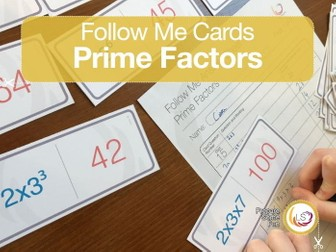 Prime Factors Follow Me Cards - A game for finding prime factors of numbers in exponential form