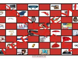 Clothing Accessories, Footwear and Jewelry Checker Board Game