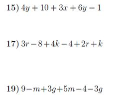 Collecting like terms worksheet no 4 (with solutions)