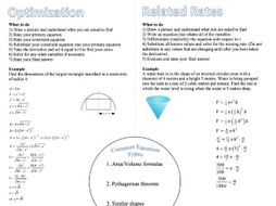 AP Calculus Optimization and Related Rates Foldable