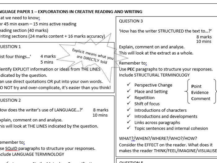 aqa english language paper 1 revision