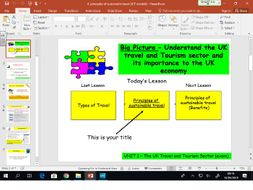 Travel and Tourism BTEC first level 2 - UNIT 1 - lesson 4 - Sustainable Tourism