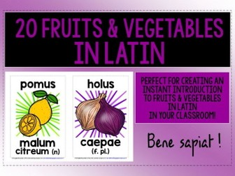 LATIN FOR CHILDREN - 20 FRUITS & VEGETABLES DISPLAY POSTERS / FLASHCARDS