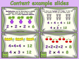 Multiplication as Repeated Addition - PowerPoint lesson and worksheets