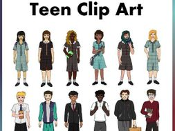 Back To School Teens in Uniform Clip Art