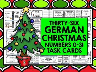 GERMAN CHRISTMAS NUMBERS 0-31 TASK CARDS