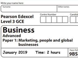 Edexcel A Level Business Year 13 Paper 1 Mock Jan 2019