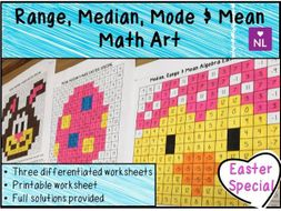 Averages from a list Math Art Easter Special