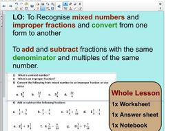 Whole Lesson -converting fractions (mixed to improper fractions ...