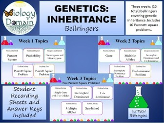 Three weeks of Genetics: Inheritance Bellringers Warm Ups with Answer Key