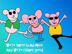 Three Cool Blind mice  A  pop song with easy percussion. non specialist.  Plus  art, listening etc.