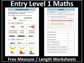 Measure Length Worksheets - Entry Level 1 Maths