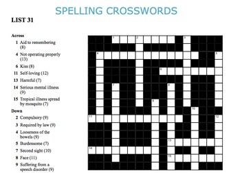 Graded Spelling and Vocabulary Crosswords 31-36