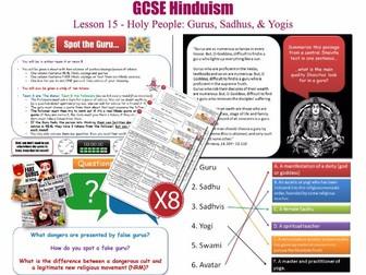GCSE Hinduism - L15/20 [Holy People, Gurus, Guru, Sadhus, Yogis] Includes fun Hindu Quotes Game!