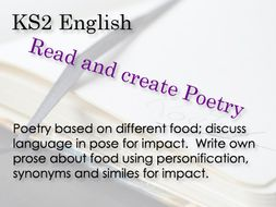 KS 2 English Poetry all about food