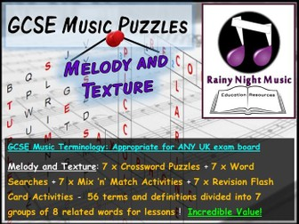 GCSE Music Language for Learning MELODY TEXTURE Bellringers Starters Revision Activities
