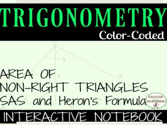 Area of non-right triangles using trigonometry Interactive Notebook