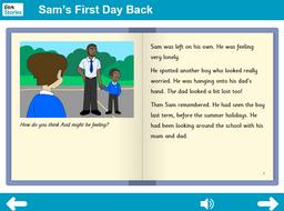 KS1 PSHE - 'Sam's First Day Back' interactive storybook - Independent reader level