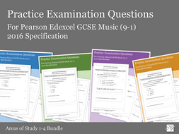 Practice Exam Questions Bundle for Pearson Edexcel GCSE Music (2016 Specification) - Areas of Study 1-4 Bundle