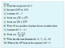 Mixed starter questions (Level 6/7) with answers
