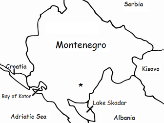 MONTENEGRO - Printable handout with map and flag
