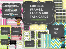 Teacher / student binder covers with matching task cards and spines--EDITABLE