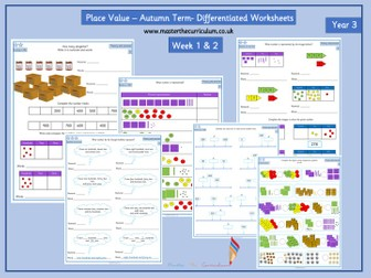 Year 3- Autumn Term- Block 1- Place Value Differentiated Worksheets