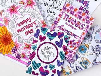 Mother's Day Printable Coloring Cards (8 Pack) | Printable PDF Mother's Day card templates to color