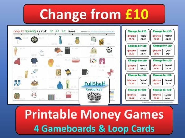 photograph about Printable Money Games titled £10 Income Game titles